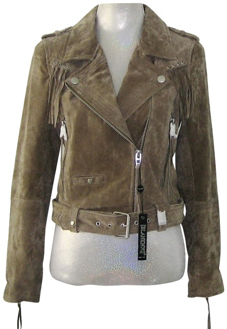 Item - Khaki Fringe Suede Leather Biker / M Jacket Size 10 (M)