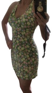 California Concepts short dress green with colored flowers on Tradesy