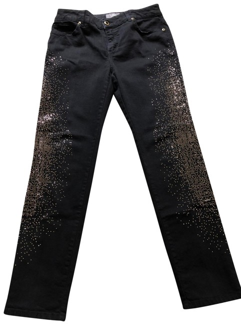 Item - Black Gold Studs So Slimming Straight Leg Jeans Size 8 (M, 29, 30)