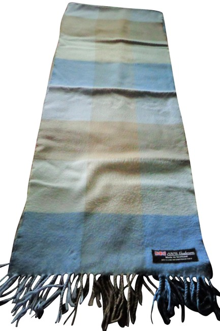 "Item - Blue Cashmere Made In Scotland 11"" X 64"" Scarf/Wrap"