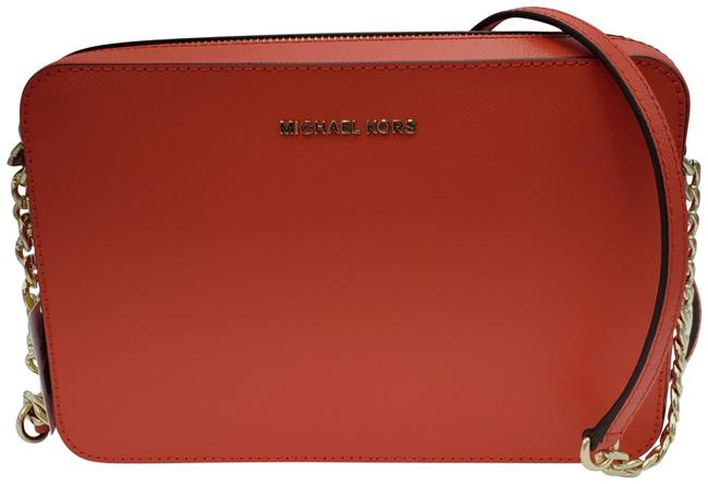 Item - East West Large Sea Coral Leather Cross Body Bag