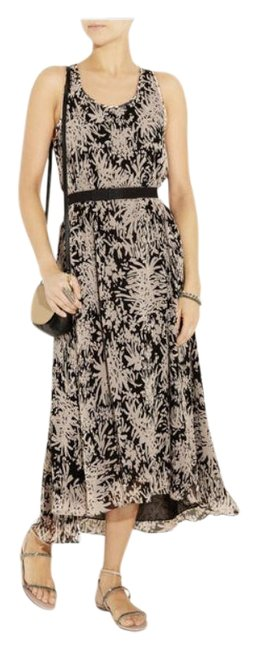 Item - Taupe & Black Silk Shadow Garden Belted Long Cocktail Dress Size 0 (XS)