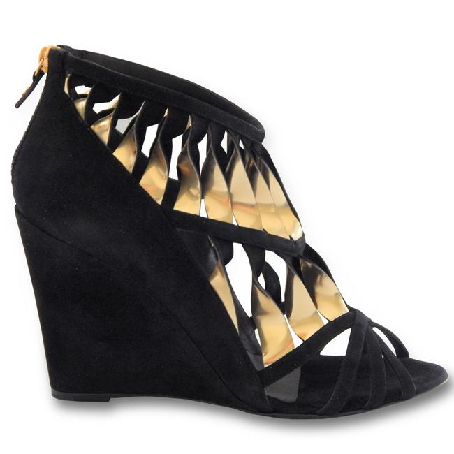 Chanel Black Gold New Twisted Straps Cutout Suede Sandals - Wedges Size EU 41 (Approx. US 11) Regular (M, B) Chanel Black Gold New Twisted Straps Cutout Suede Sandals - Wedges Size EU 41 (Approx. US 11) Regular (M, B) Image 1