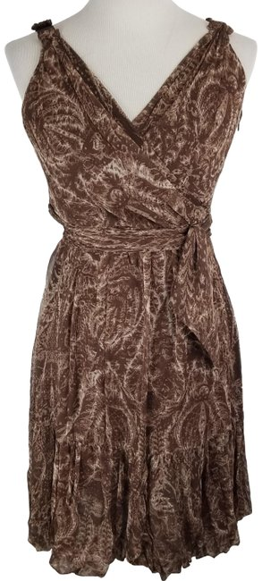 Item - Brown Double V Silk Neck Sleeveless Faux Wrap Short Casual Dress Size 4 (S)