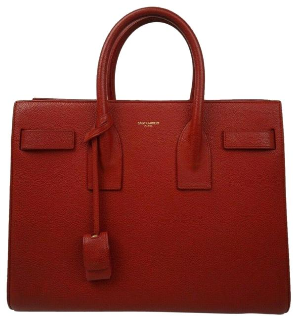 Item - Sac de Jour Bag Baby Ivory Calfskin Red Leather Tote
