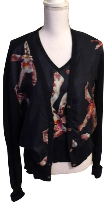 Item - Navy with Print Of White Grey Berry Cardigan Size 14 (L)