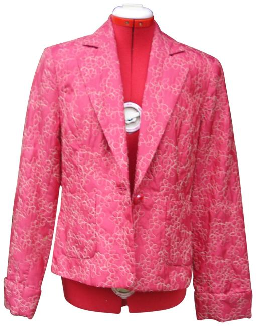 Item - Red Embroidered Fitted Jacket Blazer Size 10 (M)
