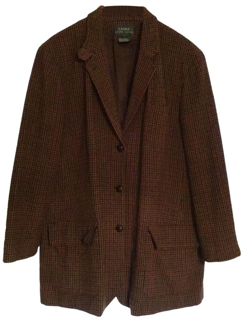 Item - Brn Multi Classic Wool Houndstooth Pattern Mostly Brown Hints Of Green and Red. Blazer Size 22 (Plus 2x)