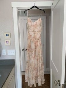 Jenny Yoo Blush Floral Polyesther Bhldn Collection - Feminine Bridesmaid/Mob Dress Size 4 (S)