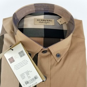 Burberry Camel Charcoal Mens Thornaby Trim Fit Shirt