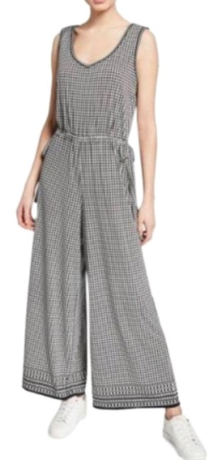Item - Black/Cream Geometric Grid Side-tie Wide Leg Romper/Jumpsuit