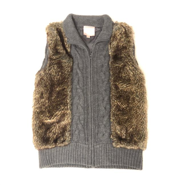 Item - Gray/Brown Knit Sweater with Faux Fur Vest Size 4 (S)