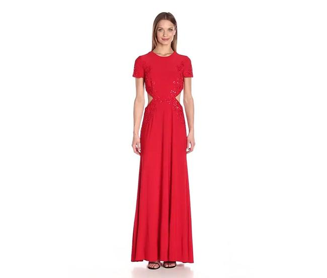 Item - Red Embellished Cut Out Long Formal Dress Size 6 (S)