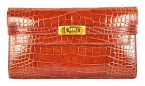 Hermes HERMES Classic Signature Kelly Long Wallet Rouge Red Crocodile Leather Gold