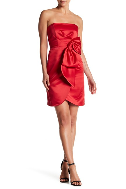 Item - Red Satin Strapless Bow Faux Wrap Body Short Cocktail Dress Size 8 (M)