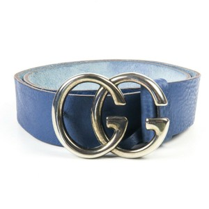 Gucci Marmont GG Belt Blue Leather Logo Silver Buckle Unisex