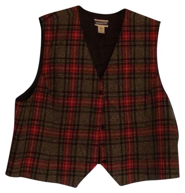 Item - Red/Multi Classic Plaid Button Front Lined Vest Size 22 (Plus 2x)