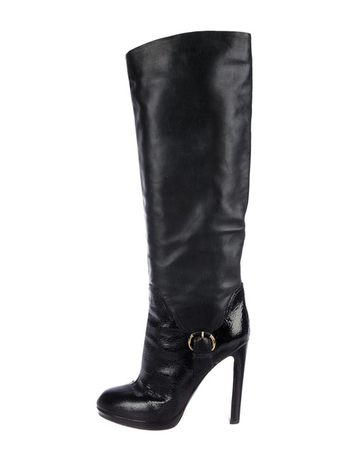 Item - Black Leather Knee-high Made In Italy Boots/Booties Size US 10 Regular (M, B)