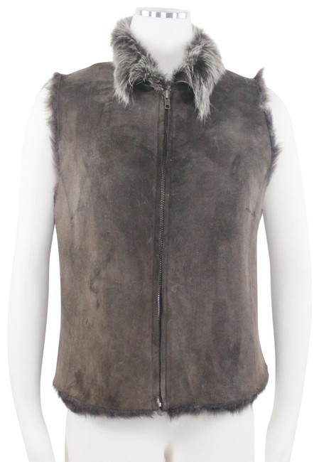 Item - Brown Reversible Shearling Fur Leather Zip Front Collar Shaggy Vest Size 12 (L)