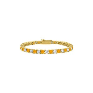 Marco B Cubic Zirconia and Citrine Tennis Bracelet in 18K Yellow Gold Vermeil.