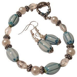 handmade Handmade Glass Pearl Beaded Bracelet Earrings Set Blue Silver Tone