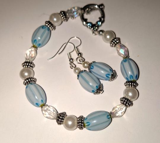 handmade Handmade Glass Pearl Beaded Bracelet Earrings Set Blue Silver Tone Image 2