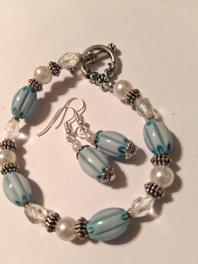 handmade Handmade Glass Pearl Beaded Bracelet Earrings Set Blue Silver Tone Image 3