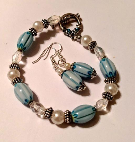handmade Handmade Glass Pearl Beaded Bracelet Earrings Set Blue Silver Tone Image 4