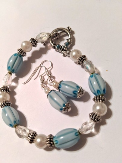 handmade Handmade Glass Pearl Beaded Bracelet Earrings Set Blue Silver Tone Image 5
