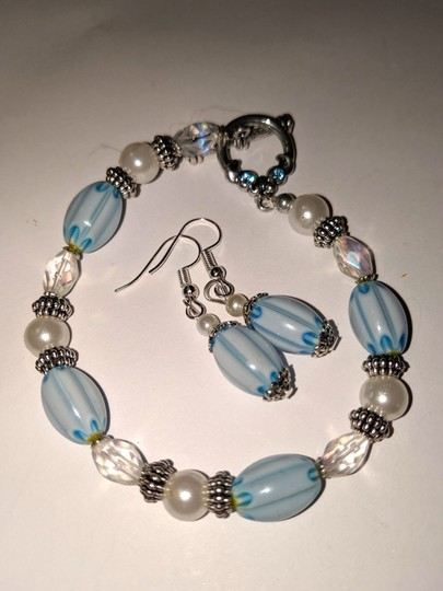 handmade Handmade Glass Pearl Beaded Bracelet Earrings Set Blue Silver Tone Image 6
