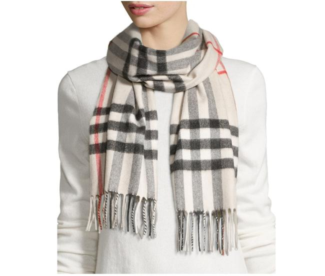 Item - Stone New Classic Giant Icon Check Cashmere Monogram Scarf/Wrap