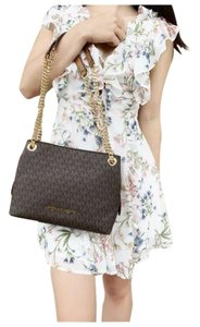 Michael Kors Chain Shoulder Signature Tote in Brown
