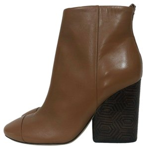 Tory Burch Leather Wedge Block Heel Ankle Brown Boots