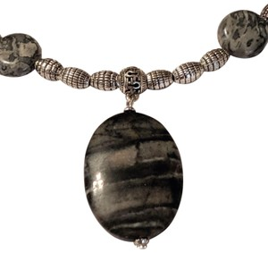 handmade Handmade Zebra Jasper Silver Tone Necklace Gemstone Black Gray