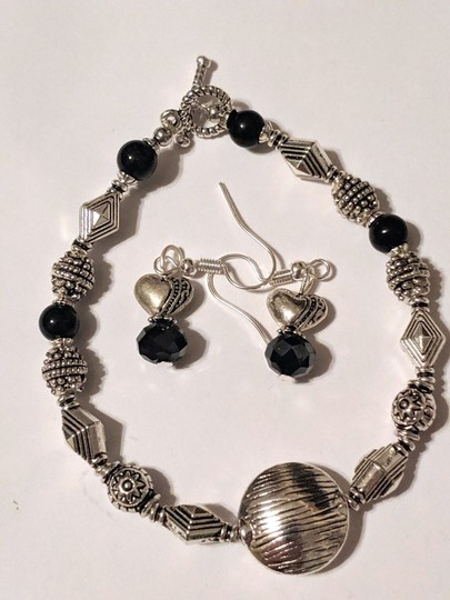 handmade Handmade Black Onyx Gemstone Silver Tone Bracelet Earrings Set Image 5