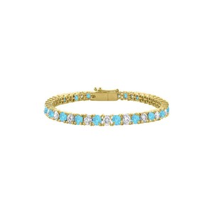 Marco B Cubic Zirconia and Created Blue Topaz Tennis Bracelet in 18K Yellow
