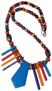 unknown Colorful Fan Pendant Bib Necklace Blue Red Yellow