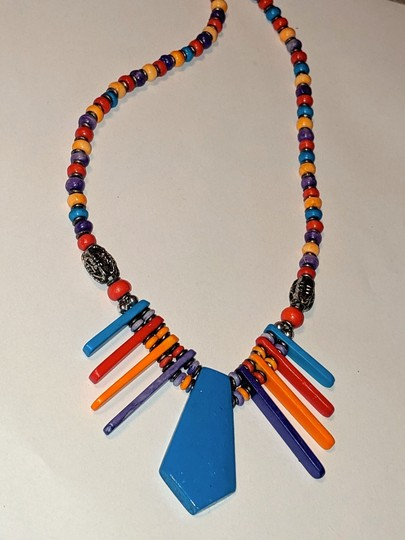 unknown Colorful Fan Pendant Bib Necklace Blue Red Yellow Image 1