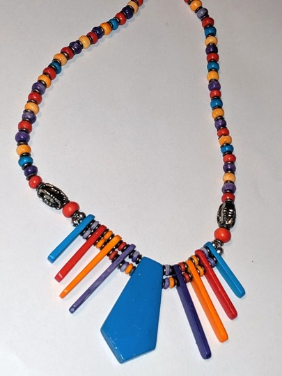 unknown Colorful Fan Pendant Bib Necklace Blue Red Yellow Image 2