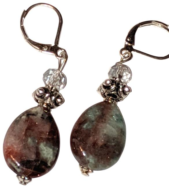 Item - Green Brown Silver Jasper Gemstone Tone 1 In. Long Earrings