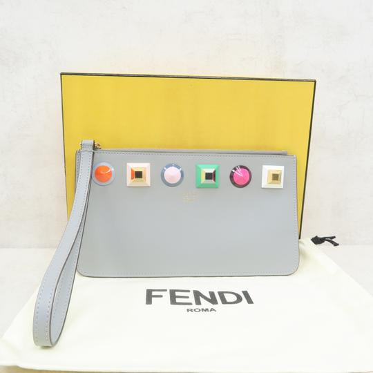 Fendi Multistud Calfskin Grey Clutch Image 1