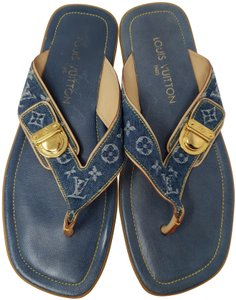 Louis Vuitton Gold Hardware Lv Monogram Idylle Logo Blue Sandals