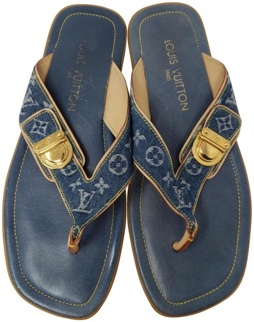 Item - Blue Medium Wash Lv Denim Monogram Idylle Thong Slide Sandals Size EU 38 (Approx. US 8) Regular (M, B)