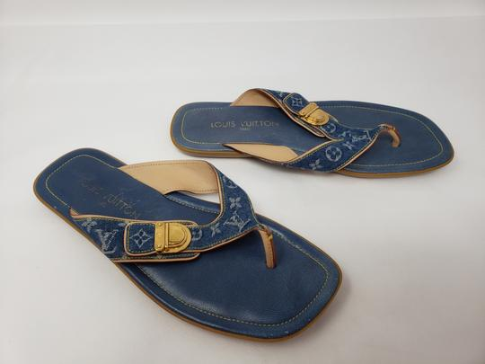 Louis Vuitton Gold Hardware Lv Monogram Idylle Logo Blue Sandals Image 1
