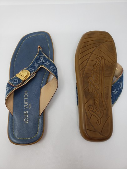 Louis Vuitton Gold Hardware Lv Monogram Idylle Logo Blue Sandals Image 10