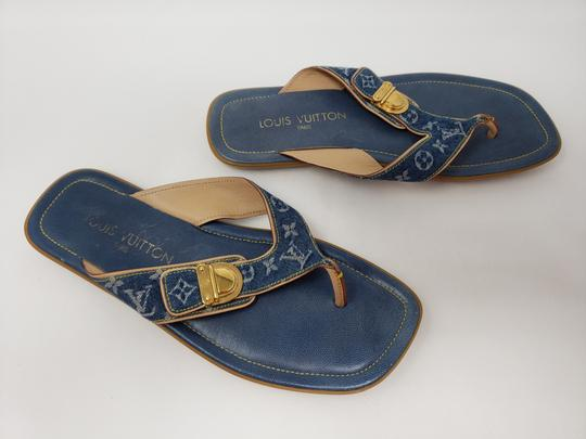 Louis Vuitton Gold Hardware Lv Monogram Idylle Logo Blue Sandals Image 11
