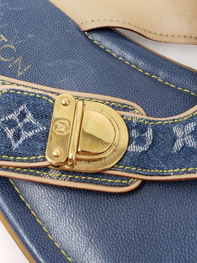 Louis Vuitton Gold Hardware Lv Monogram Idylle Logo Blue Sandals Image 2