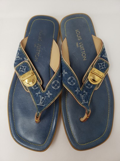 Louis Vuitton Gold Hardware Lv Monogram Idylle Logo Blue Sandals Image 3