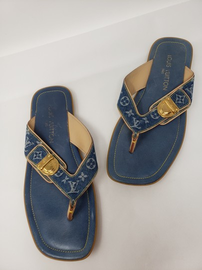Louis Vuitton Gold Hardware Lv Monogram Idylle Logo Blue Sandals Image 4