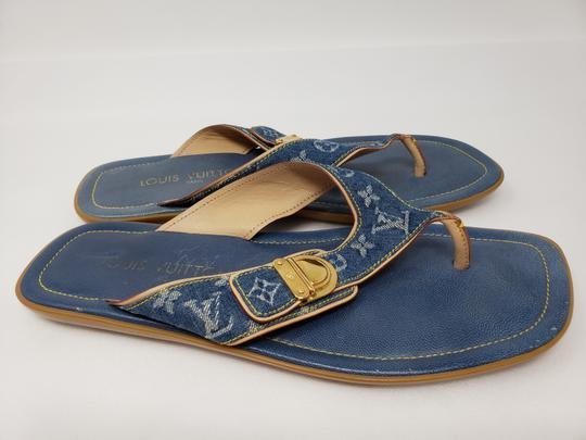 Louis Vuitton Gold Hardware Lv Monogram Idylle Logo Blue Sandals Image 5